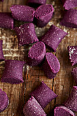 Raw purple sweet potato gnocchi