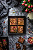 Brownies with dried rose petals