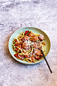 Zoodles with meatballs and tomato sauce