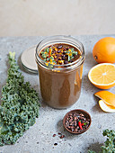 Winter cocoa smoothie with kale and orange