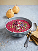 Beetroot and wasabi soup with pears