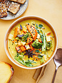 Spicy sweet potato curry with mango and crispy tofu