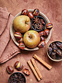 Apples, chestnuts, star anise and dried fruit