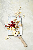 Apples, cranberries, walnuts and almonds
