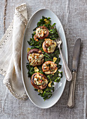 Grilled mushrooms with roquefort and spinach filling
