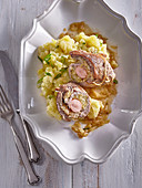 Pork roll with sausage filling and sauerkraut