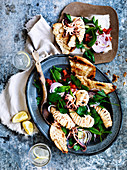 Fattoush and Barbecued Squid Salad