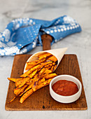 Air fried sweet potatoes