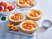 Pudding tartlets with apricots