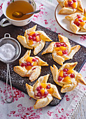 Puff pastry pin wheels with custard