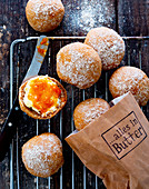 Bread rolls with butter and apricot jam