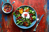Watercress salad with cucumber, mozzarella and blood oranges