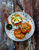 Lentil fritters with sour cream and herbs