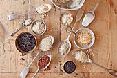 Verschiedene Reissorten auf Löffeln und in Schälchen