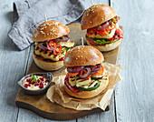 Vegetarian burger with grilled vegetable