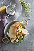 Vegetable and chickpea salad in pita bread