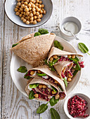 Wrap with quinoa, beetroot and honey dressing