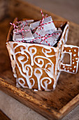 Decorated gingerbread cups with caramel candies