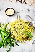Fresh wild garlic pasta