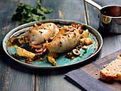 Stuffed calamari with artichokes and olives
