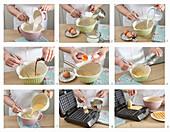 Preparing coconut waffles with cream