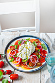 Tomato salad with plive oil, basil, red onion and burrata cheese