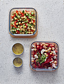 Two types of chickpea salads