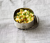 Lentil and kohlrabi salad with apple and cheese