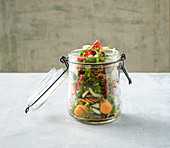 Bok choy salad with sesame seeds in a jar