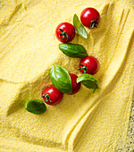 Polenta, cherry tomatoes and basil
