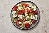 Courgette and tomato salad with mozzarella