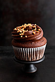 A chocolate chip cupcake with a brittle topping