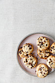 Vegan chocolate chip cookies with almonds