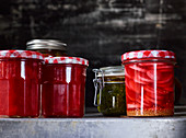 Pickles and preserves in a pantry