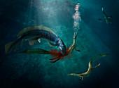Mesosaurus shark hunting Orthacanthus, illustration