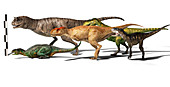 Group of Abelisaurid dinosaurs, illustration