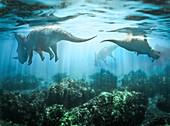 Drowning centrosaurus dinosaurs, illustration