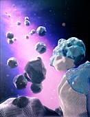Particle coating, illustration