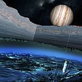 Probe exploring Europa, illustration