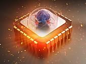 AI-enhanced computer processor, conceptual illustration