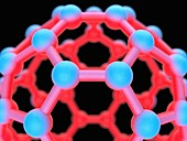 Buckyball C60 molecule detail, illustration