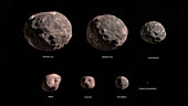 Trojan asteroid targets of the Lucy mission, illustration