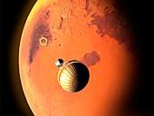 Mars 2020 spacecraft approaching Mars, illustration