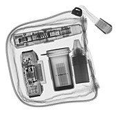 Diabetes testing kit used a with cellphone, X-ray