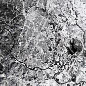 Snow covering Austin, Texas, USA, satellite image