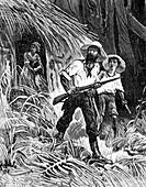 Rubber prospectors, 19th century illustration