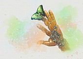 Robotic hand with butterfly, illustration