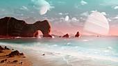 Artwork of a habitable exomoon