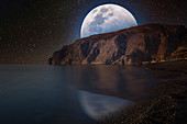 Moon and seascape