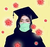 Graduating during a pandemic, conceptual illustration